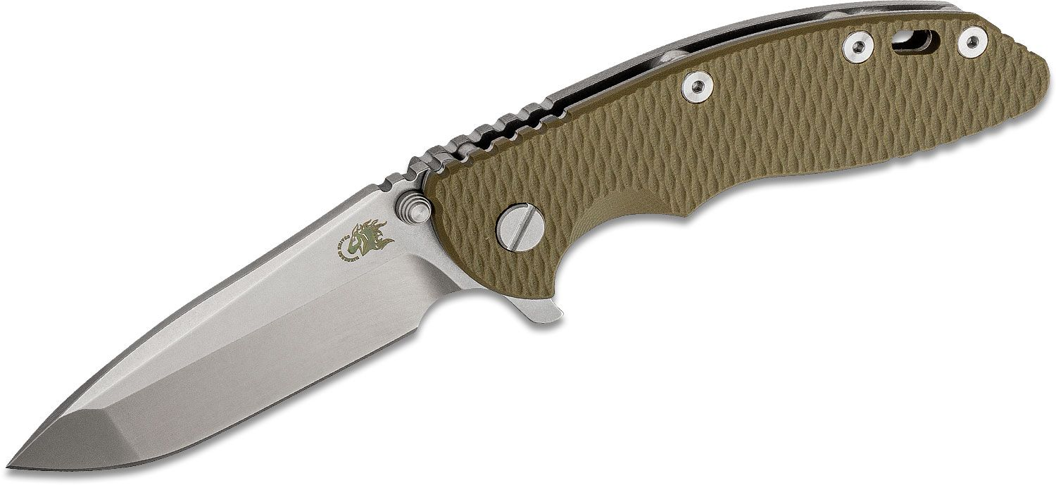 Rick Hinderer Knives Tri-Way XM-18 3.5 inch Flipper Knife, CPM-20CV Stonewashed Spanto Blade, OD Green G10 Handle