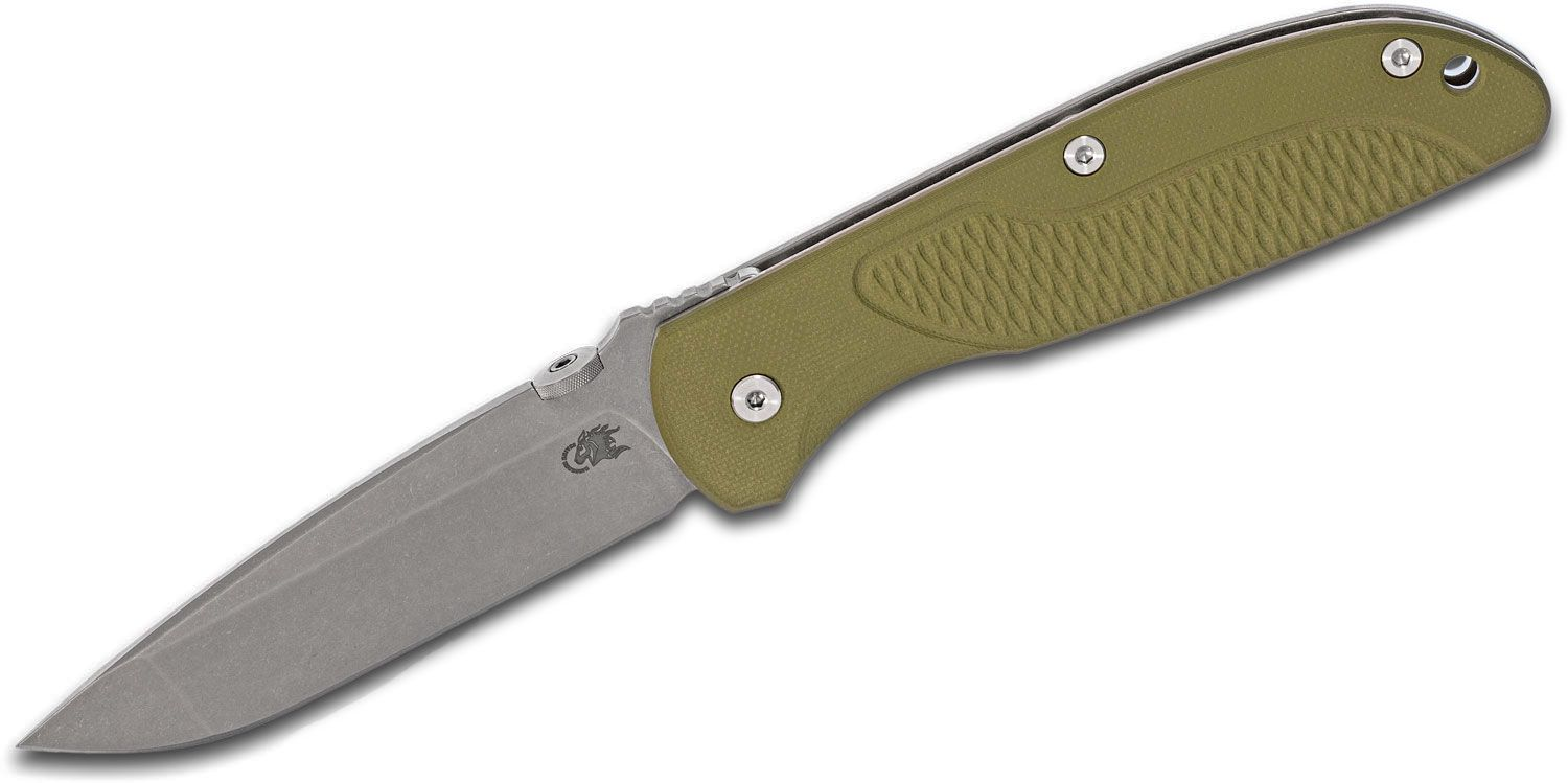 Rick Hinderer Firetac Folding Knife 3.625 inch CPM-20CV  Working Finish Spanto Blade, OD Green G10 and Titanium Handles