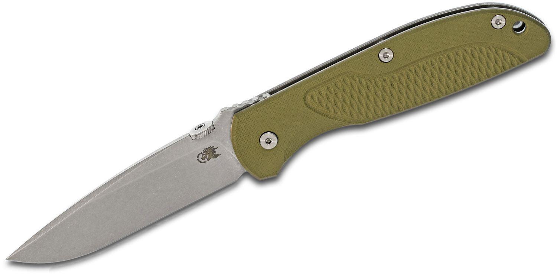Rick Hinderer Firetac Folding Knife 3.625 inch CPM-20CV Stonewashed Spear Point Blade, OD Green G10 and Titanium Handles
