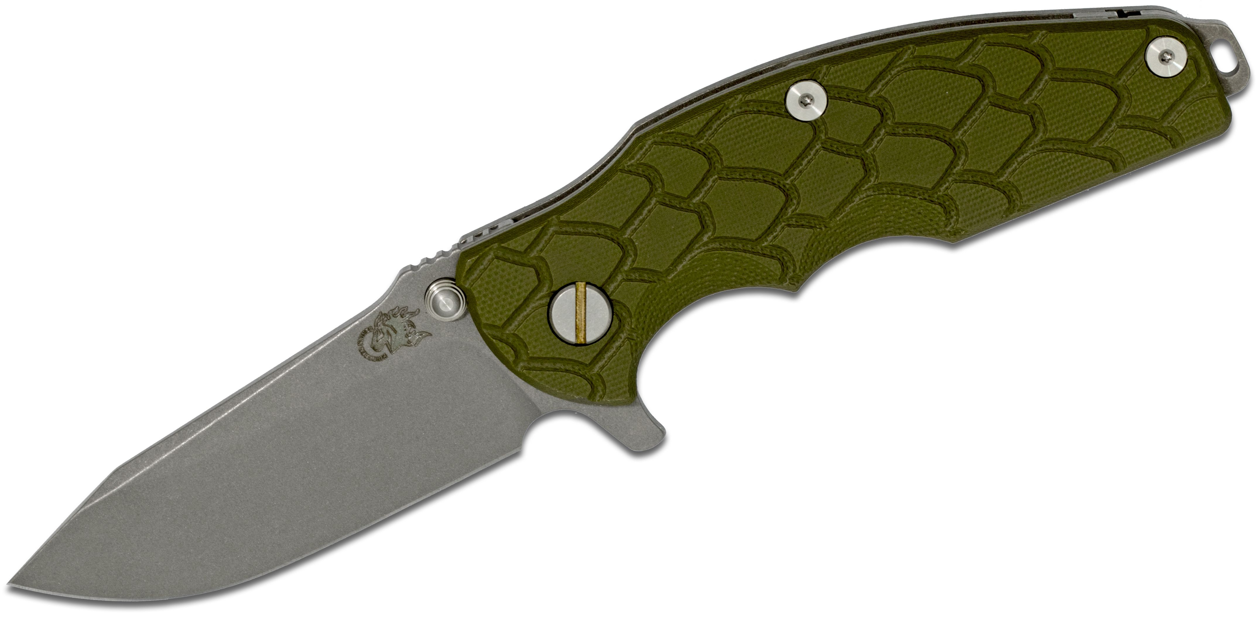 Rick Hinderer Knives Jurassic Flipper 3.25 inch S35VN Working Finish Spear Point Blade, OD Green G10 Handle