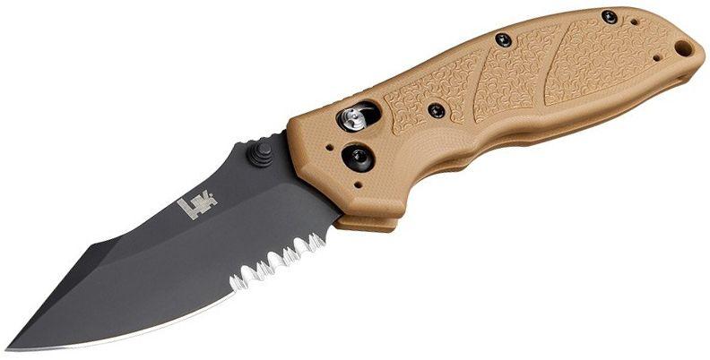 HK Knives by Hogue Exemplar Folding Knife 3.25 inch 154CM Black Combo Clip Point Blade, FDE G10 Handles