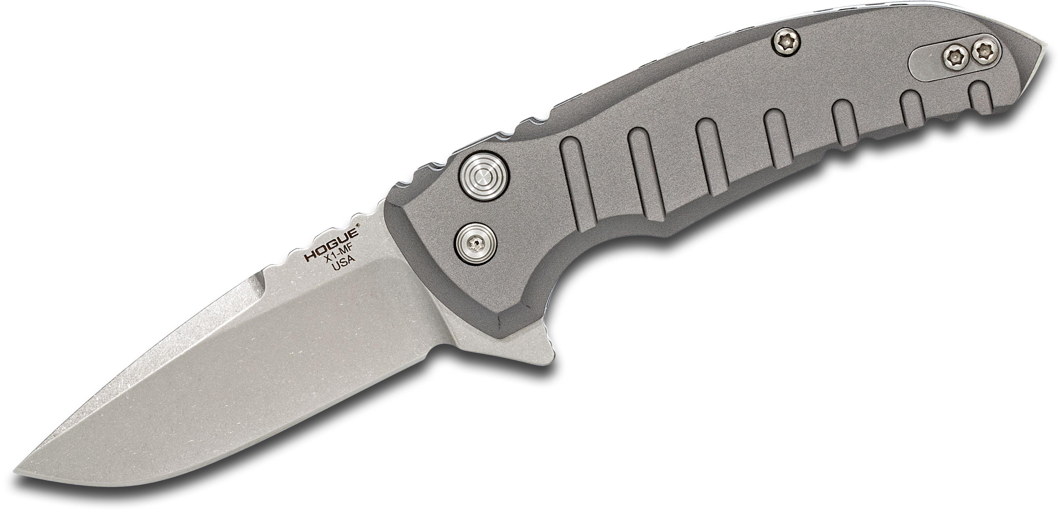 Hogue X1-Microflip Flipper 2.75 inch CPM-154 Stonewashed Blade, Matte Gray Aluminum Handles