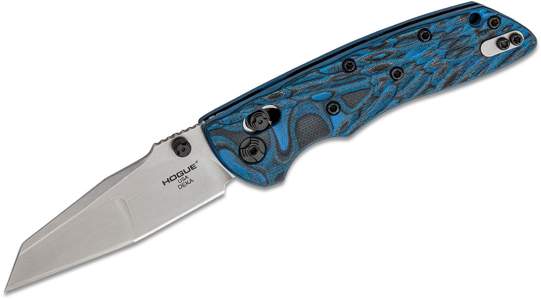 Hogue Deka ABLE Lock Folding Knife 3.25 inch CPM-20CV Stonewashed Modified Wharncliffe Blade, G-Mascus Blue Lava G10 Handles