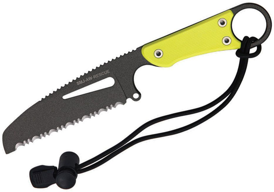 HPA SMJ Air Water Rescue Fixed Knife 3.875 inch Black Serrated Blade, Yellow G10 Handles, Kydex Sheath
