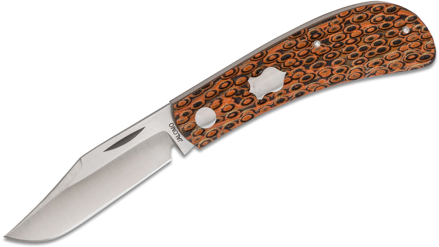 Pepe Jalomo Custom Lanny's Clip Traditional Folding Knife 3 inch CPM-154 Satin Blade, Dimpled Orange/Black G10 Handles