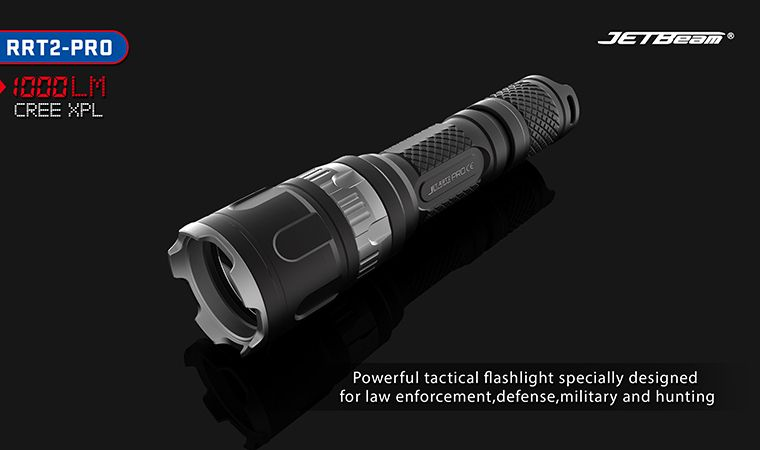 JETBeam RRT2-PRO Aluminum LED Flashlight 2xCR123, 1000 Max Lumens