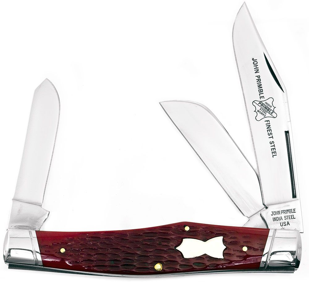 John Primble Reverse Gunstock w/ 3 Stainless Steel Blades and Red Bone Handles