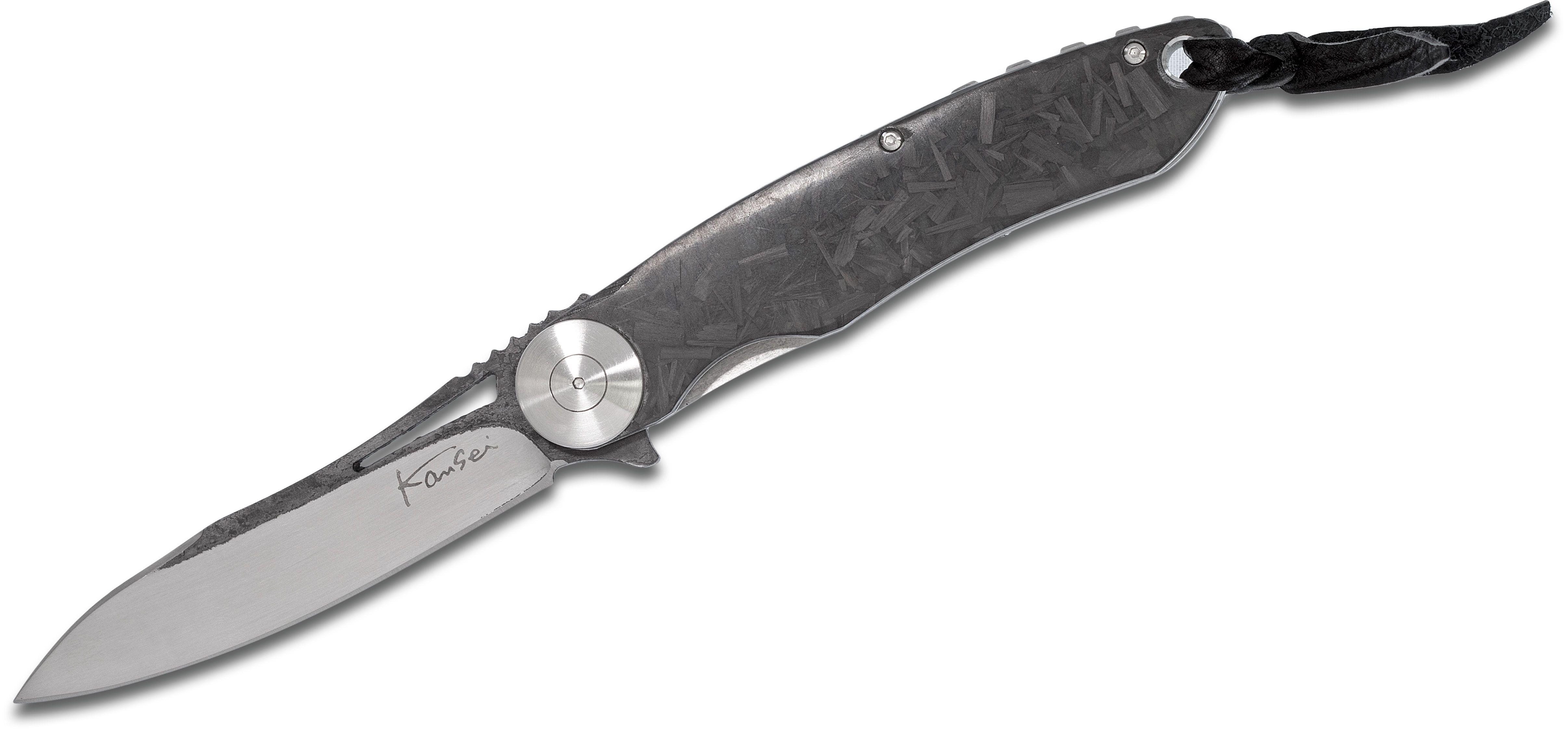 Kansei Matsuno Custom LRF02 Flipper 3.125 inch D2 Sheepsfoot Blade, Shred Carbon Fiber Handles, Leather Pouch