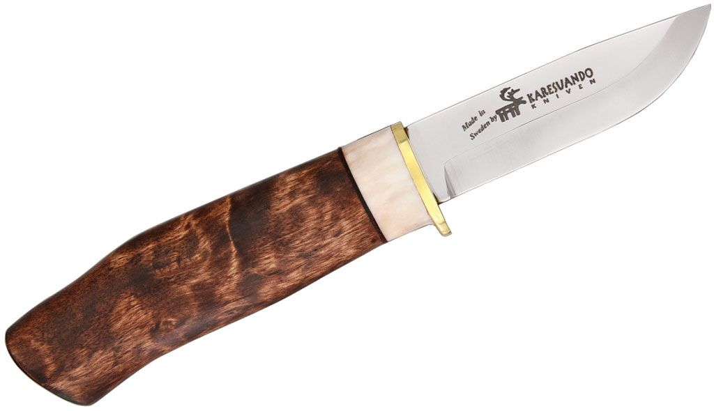 Karesuando Kniven Wilderness Exclusive Fixed 3.25 inch 12C27 Plain Blade, Oiled Curly Birch with Reindeer Antler Handle, Leather Sheath