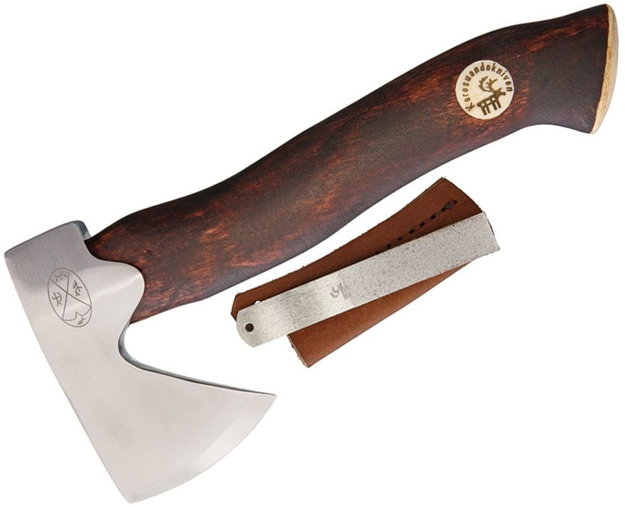 Karesuando Kniven Unna Aksu Hunter's Axe Hatchet 8.75 inch Overall, Brown Oiled Curly Birch Handle, Leather Sheath