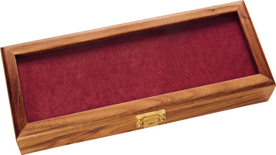 KA-BAR 1437 Walnut Wood Display Case with Glass Top, 14.875 inch x 5.875 inch