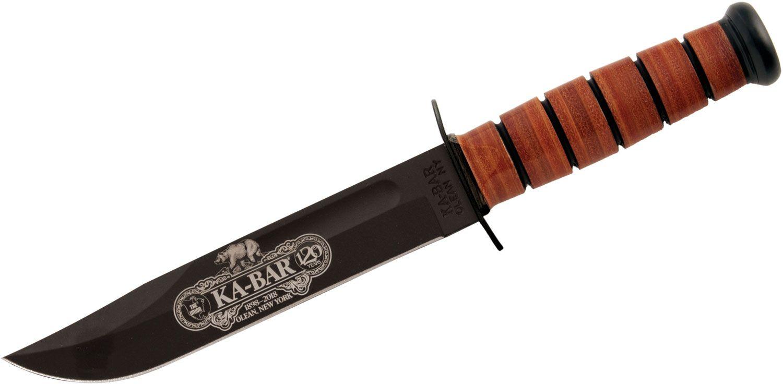KA-BAR 9191 Commemorative Fighting Knife 120th Anniversary USMC 7 inch Plain Blade, Leather Handles, Leather Sheath