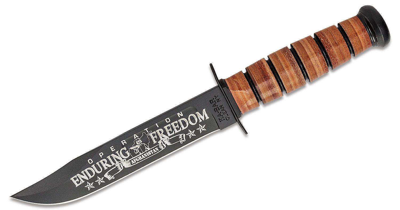 KA-BAR 9168 US Army Commemorative Fighting Knife OEF Afghanistan 7 inch Plain Blade, Leather Handles, Leather Sheath