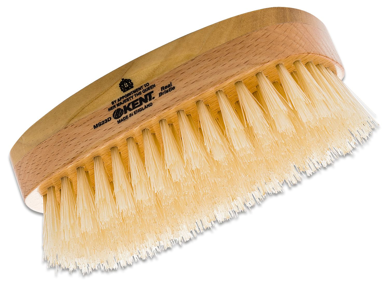 Kent Brushes MS23D Rectangular Satin and Beech Wood, Pure Soft White Bristle Hair Brush