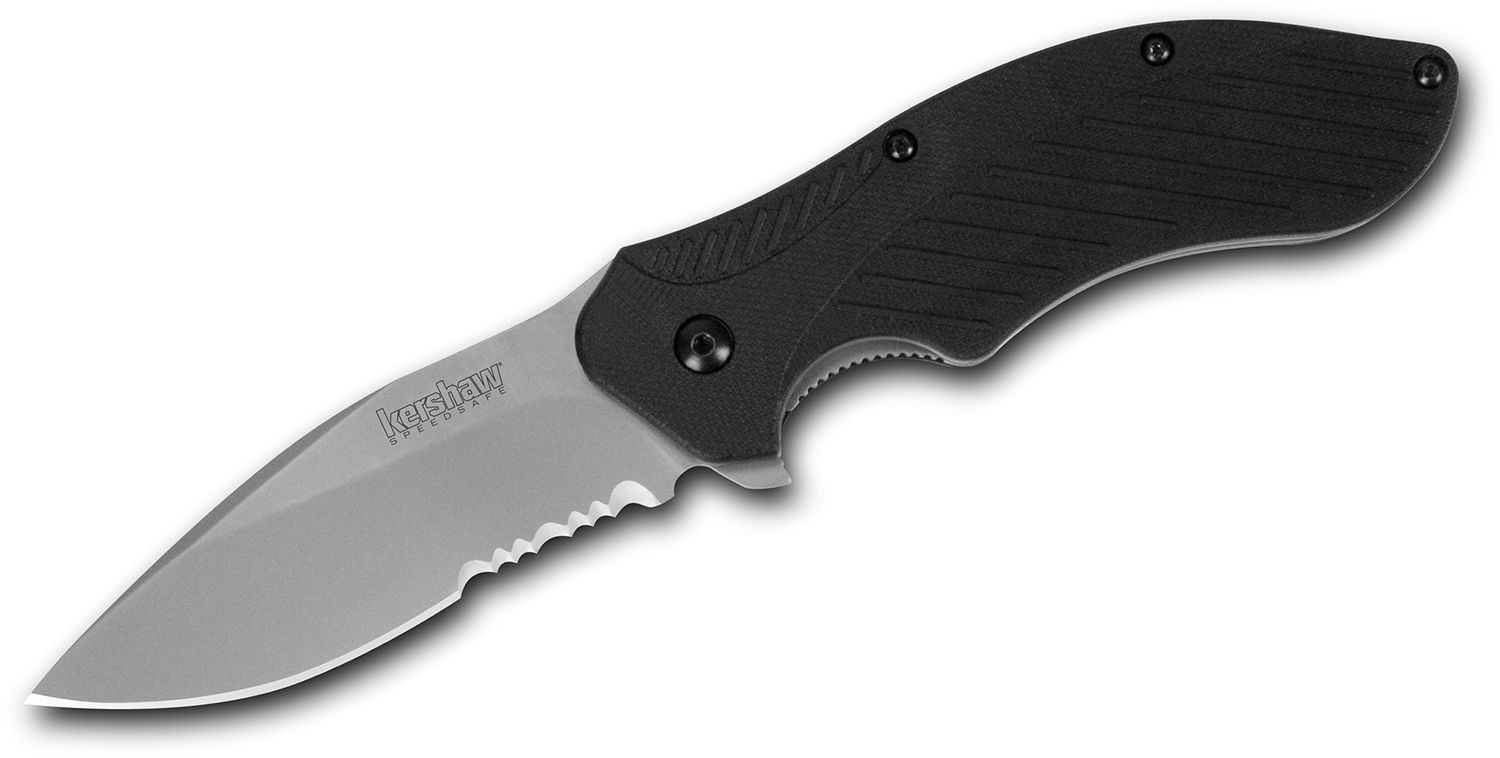 Kershaw 1605ST Clash Assisted Flipper Knife 3 inch Bead Blast Combo Blade, Black Polyimide Handles