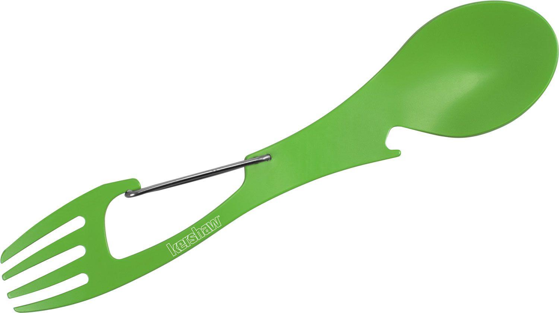 Kershaw 1145GRN Ration XL (Spring Green) Spoon, Fork, Bottle Opener, Carabiner