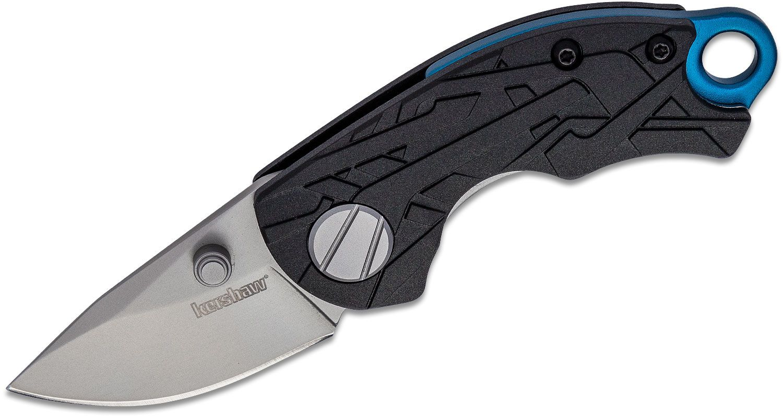 Kershaw 1180 Jens Anso Hub Folding Knife 1.7 inch Bead Blast Blade, Black GFN Handles