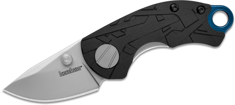 Kershaw 1180 Jens Anso Hub Flipper Knife 1.7 inch Stainless Steel Bead Blast Blade, Black GFN Handles