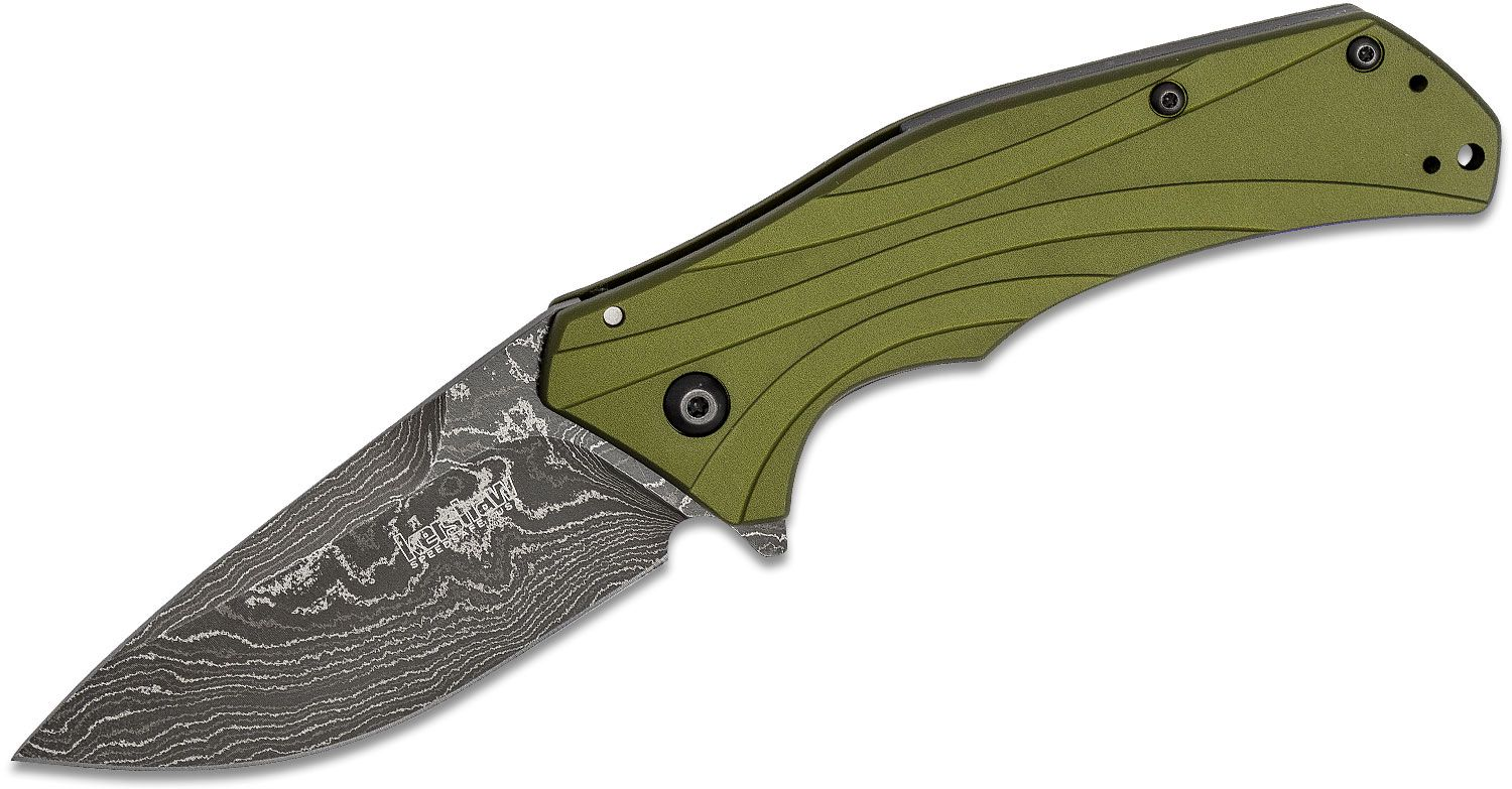 Kershaw 1870OLDAM Knockout Assisted Flipper Knife 3.25 inch Damascus Blade, Olive Drab Aluminum Handles