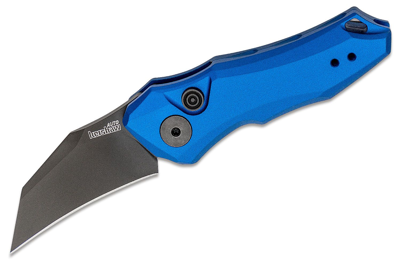 Kershaw 7350BLUBLK Launch 10 AUTO Folding Knife 1.9 inch Black CPM-154 Hawkbill Blade, Blue Anodized Aluminum Handles