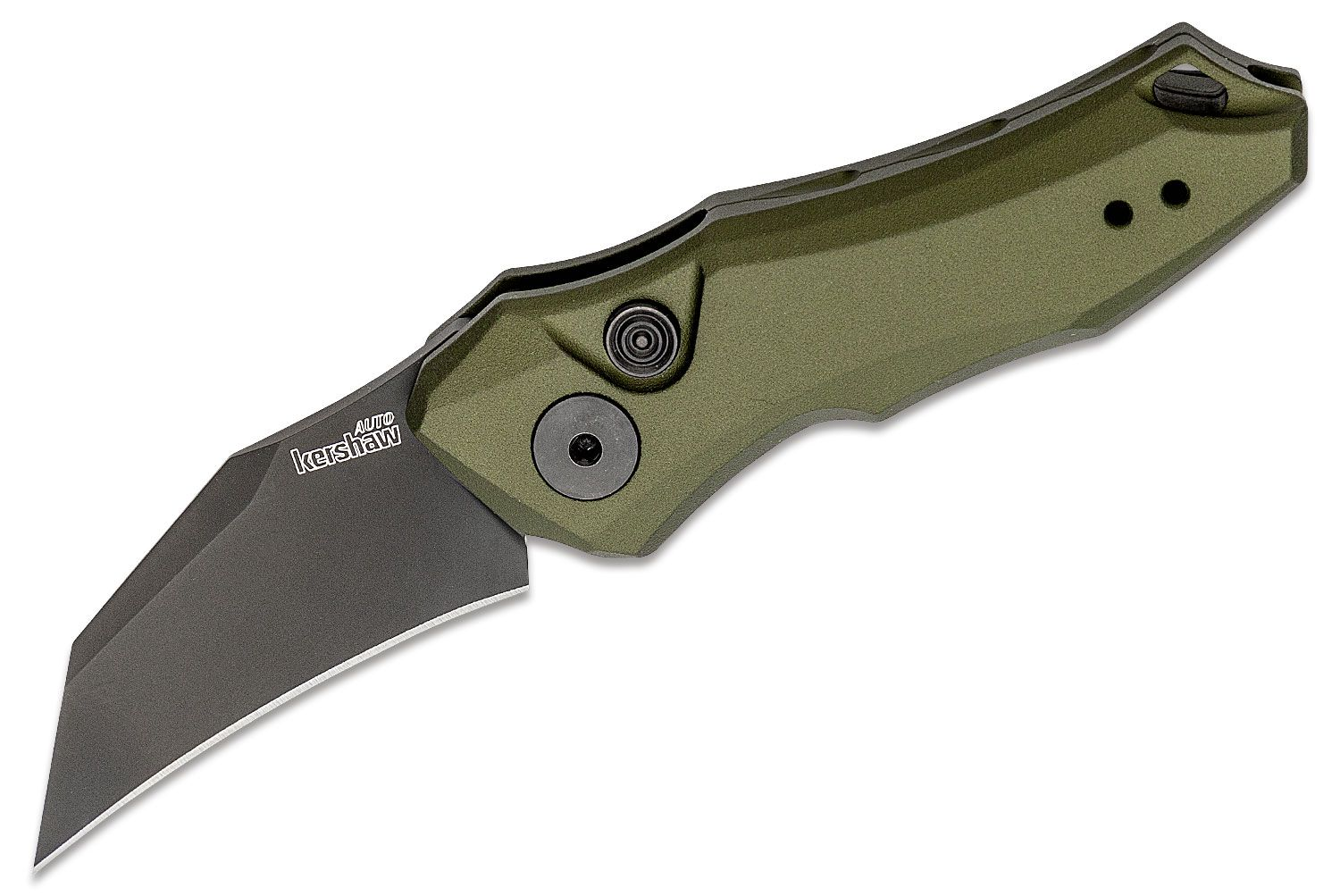 Kershaw 7350OLBLK Launch 10 AUTO Folding Knife 1.9 inch Black CPM-154 Hawkbill Blade, OD Green Anodized Aluminum Handles