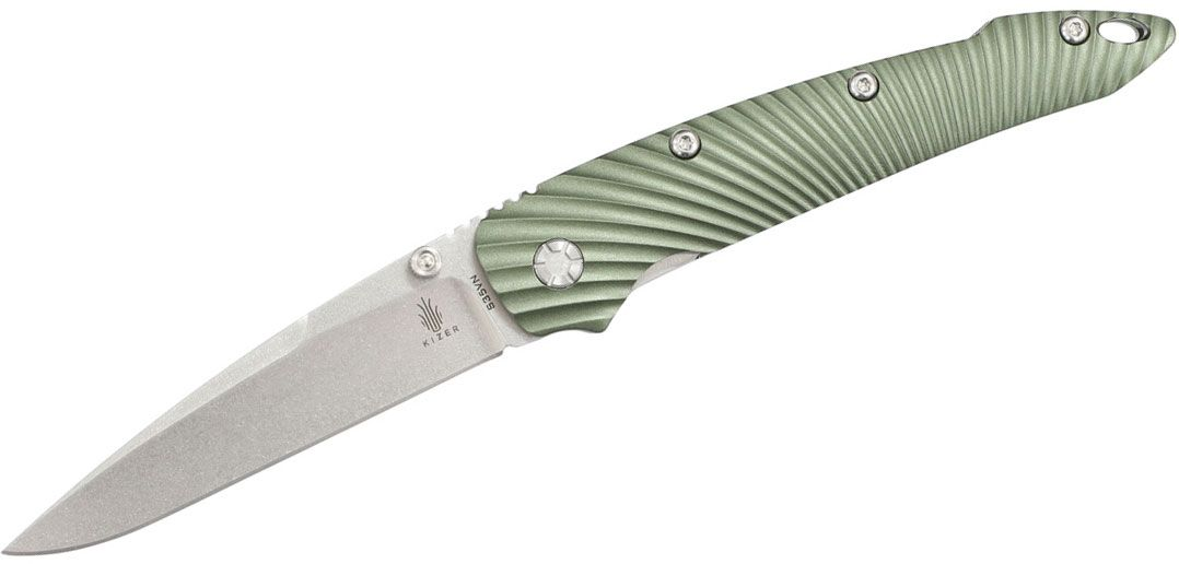 Kizer Cutlery Ki4419A3 Sliver Folding Knife 3.54 inch S35VN Stonewashed Blade, Green Aluminum Handles