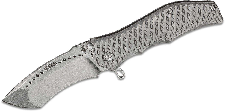 Kizer Cutlery Ki4501T Darrel Ralph Gunhammer Flipper 3.5 inch S35VN Radian Recurve Blade, 3D Machined Titanium Handles