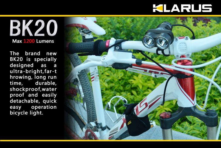 Klarus BK20 Bike Light LED 4x18650 Twin Head Flashlight, Military Gray Body, 1200 Max Lumens
