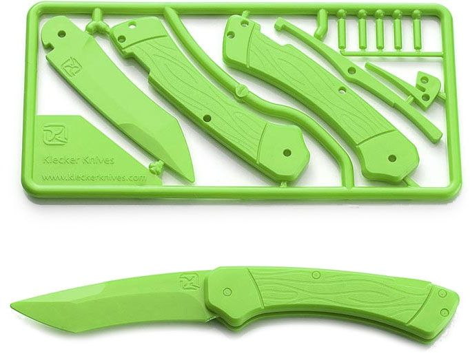 Klecker Trigger Folding Plastic Knife Kit 3.2 inch Blade, Zombie Green