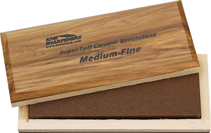 KME Sharpeners  inchSuper-Tuff inch Ceramic Sharpening Stone, Medium/Fine, Wooden Case