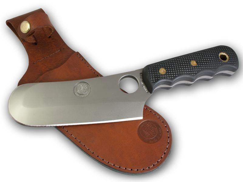 Knives of Alaska Brown Bear Skinner Cleaver Fixed 5.875 inch D2 Bead Blast Blade, Black Santoprene SureGrip Handles, Brown Leather Sheath