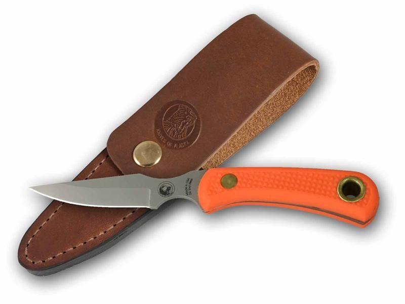 Knives of Alaska Cub Bear Caping Knife Fixed 3.375 inch D2 Bead Blast Blade, Orange Santoprene SureGrip Handles, Brown Leather Sheath