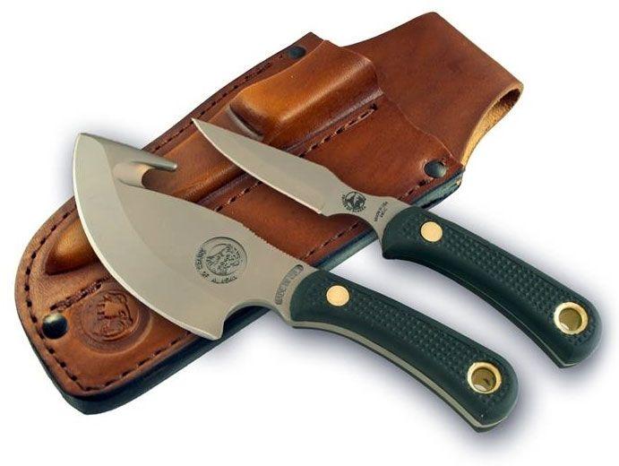 Knives of Alaska Light Hunter/Cub Bear Combo Set, Black Santoprene SureGrip Handles, Brown Leather Sheath