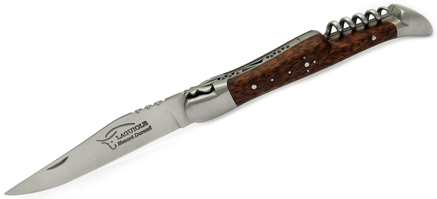 Laguiole Honoré Durand LD3CSN Folding Knife 3.81 inch Brushed Matte Blade and Bolsters with Corkscrew, Snakewood Handles, Black Leather Sleeve