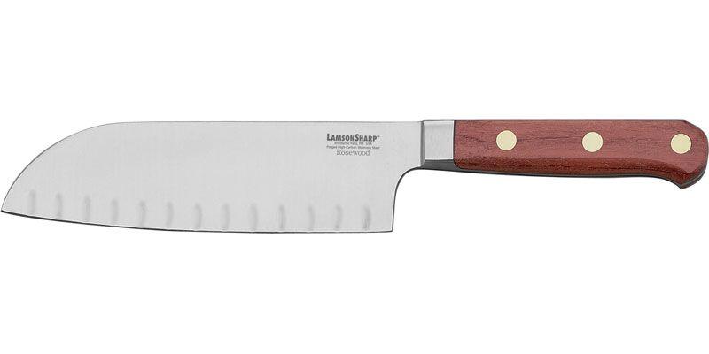 LamsonSharp USA 7 inch Rosewood Forged Kullenschliff Santoku/Santuko Knife - Plain Edge