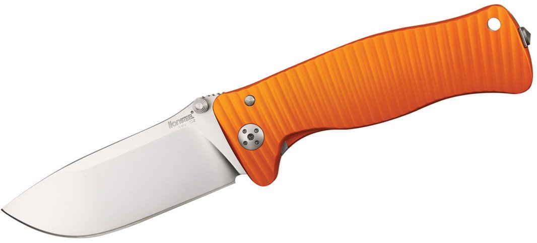 LionSteel SR-1A OS Folding 3.7 inch Satin D2 Steel Blade, Orange Aluminum Handle