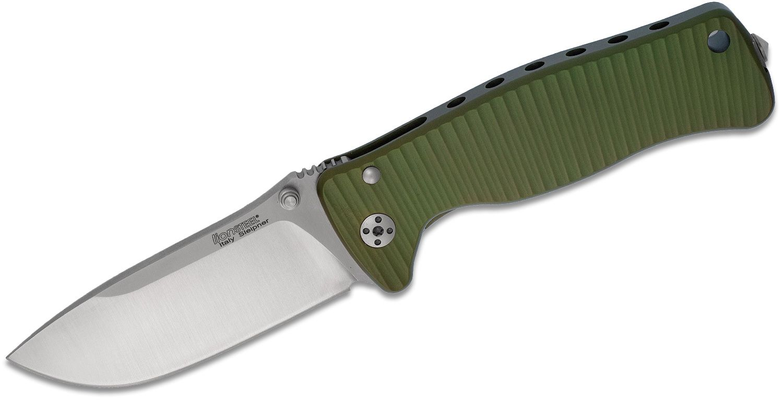 LionSteel SR-2A GS Folding 3.07 inch Satin Sleipner Steel Blade, Green Aluminum Handle