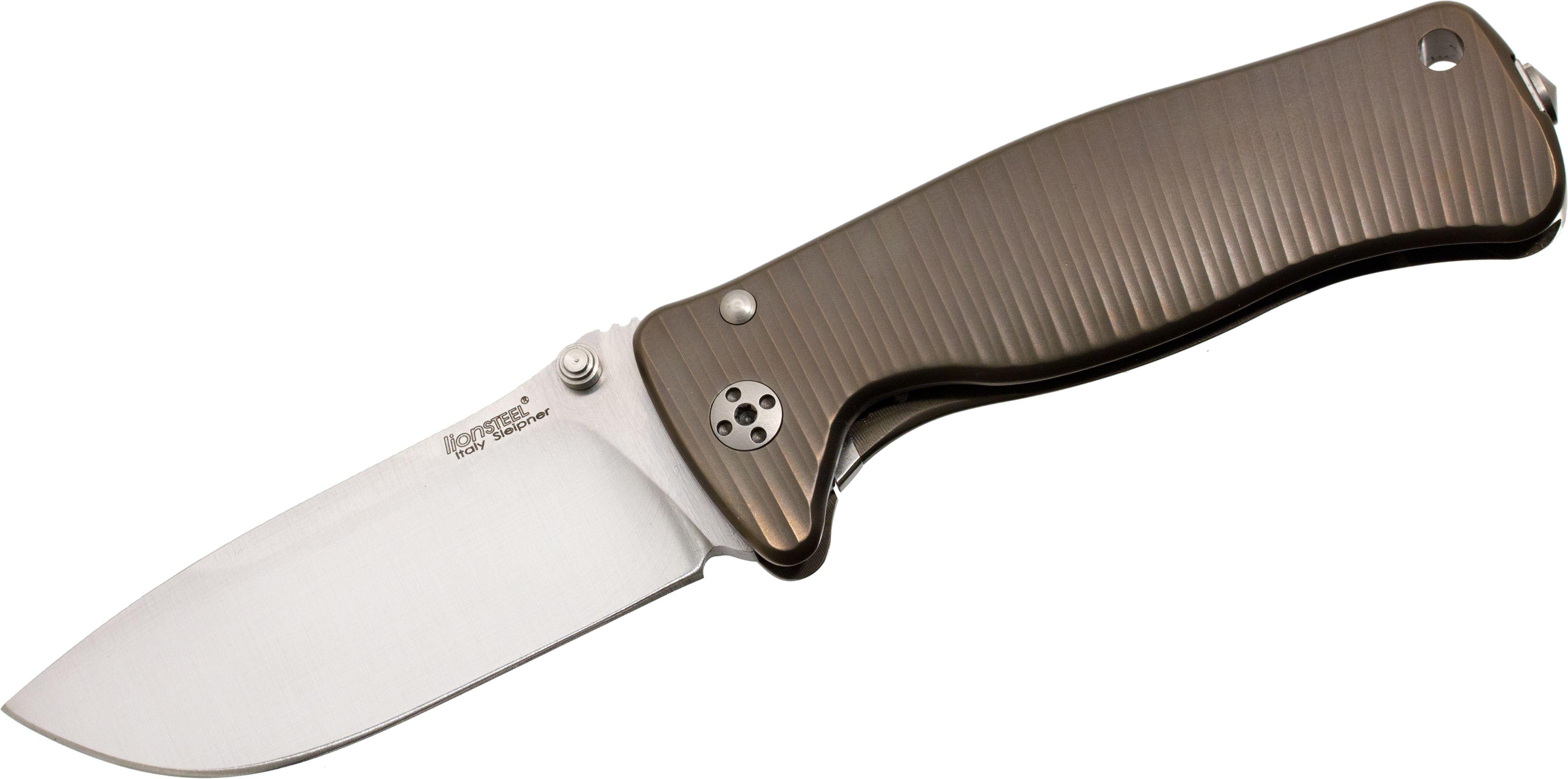 LionSteel SR-2 B Folding 3.07 inch Satin Sleipner Steel Blade, Bronze Titanium Handle with Presentation Box
