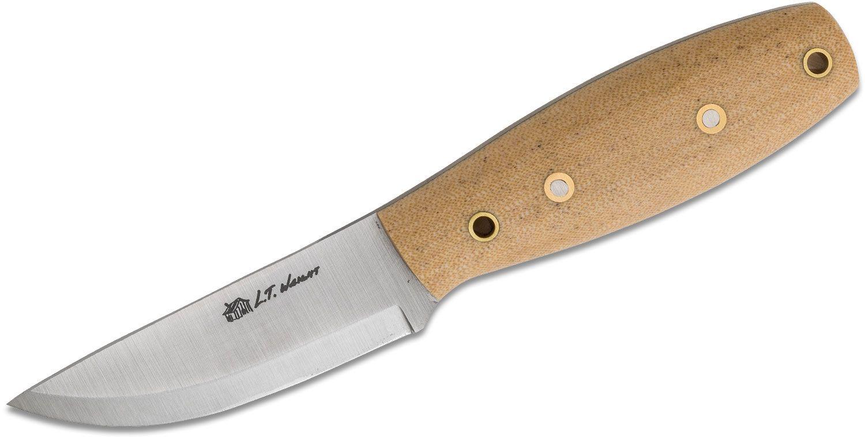 L.T. Wright Holy Bushman 3.625 inch A2 Scandi Grind Fixed Blade Knife, Snakeskin Micarta, Leather Sheath