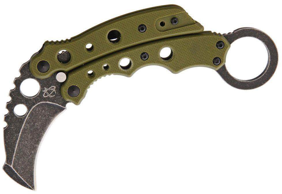 Mantis MK-4GSW Vuja De Balisong Karambit Crossover 2 inch Black Stonewashed Blade, OD Green G10 Handles