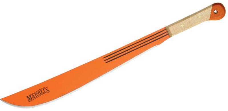 Marble's Machete 18 inch Orange Finish Blade, Natural Wood Handles