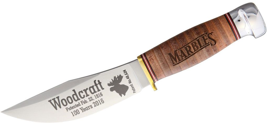Marble's 100th Anniversary Woodcraft Fixed 4.5 inch Satin Plain Blade, Etched, Stacked Leather Handles, Leather Sheath