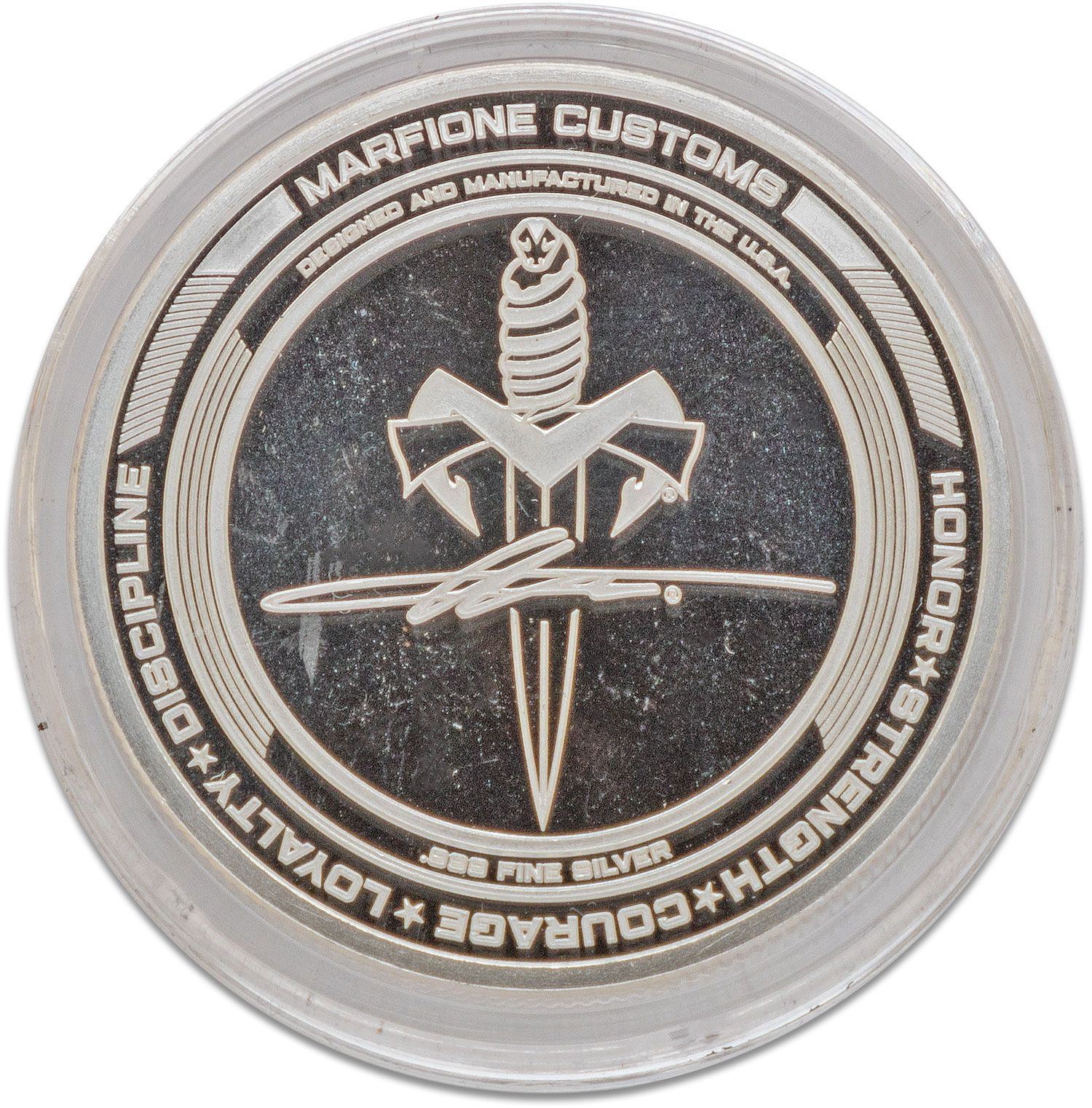 Marfione Custom Knives Custom 25th Anniversary .999 Fine Silver Challenge Coin