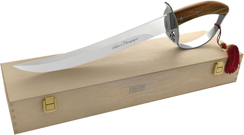 Maserin 2000SC14 Sommelier Champagne Saber 13.5 inch Unsharpened Blade, Santos Wood Handles, Wooden Storage Box