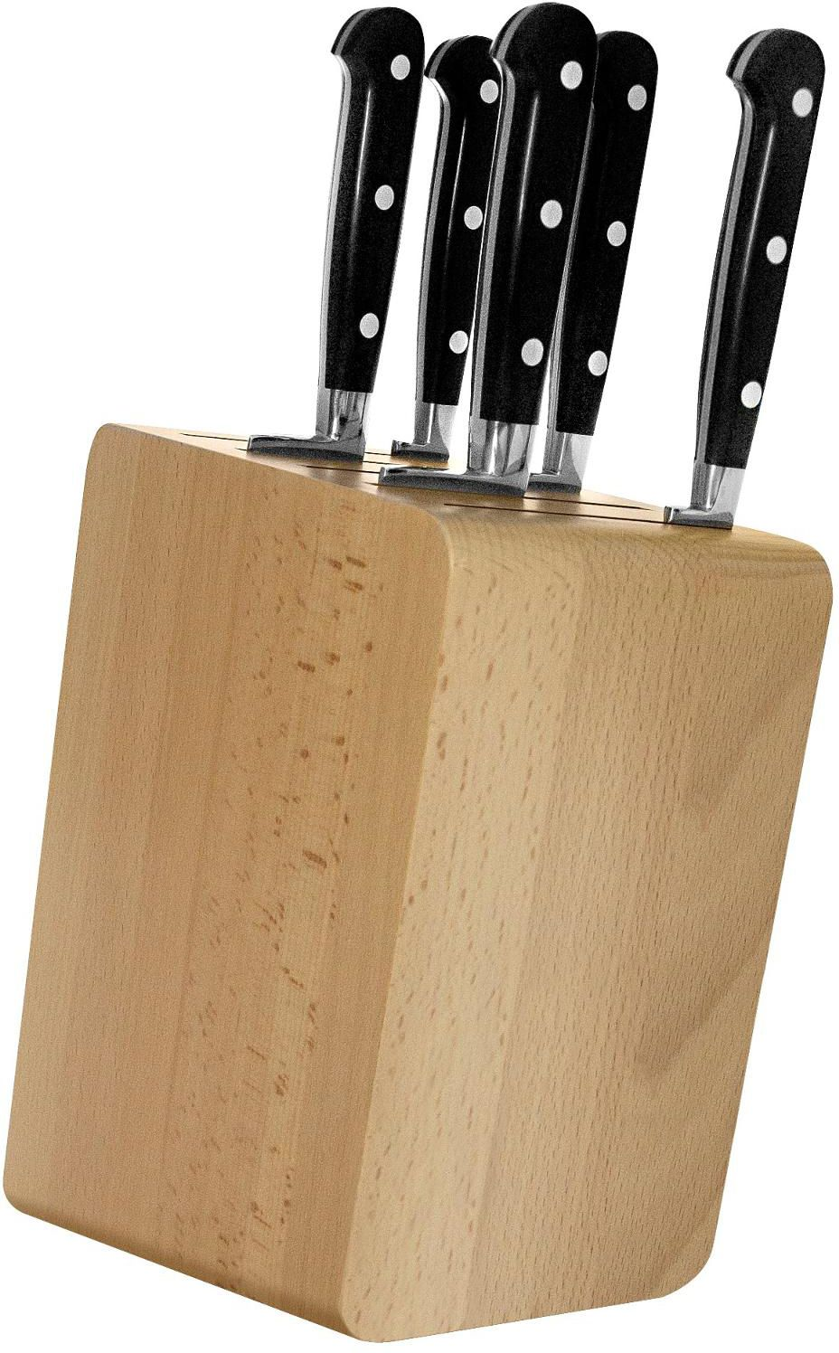 Maserin 2084/AP2 Apollo 2 Six Piece Kitchen Knife Stand Set, Black POM Handles
