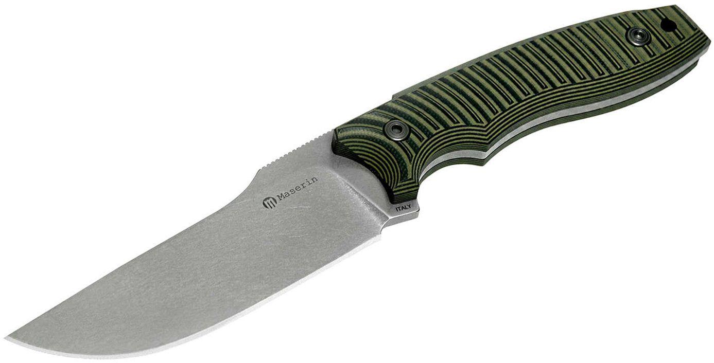Maserin 919/G10NV LEO Tactical Knife Fixed 4.44 inch N690 Stonewashed Plain Blade, Green/Black G10 Handles, Black Kydex Sheath