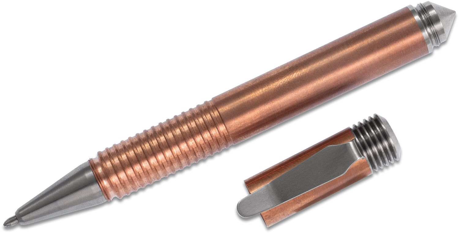 Matthew Martin Custom 500CuTi Copper and Titanium Screw Cap Tactical Pen, 5 inch Overall