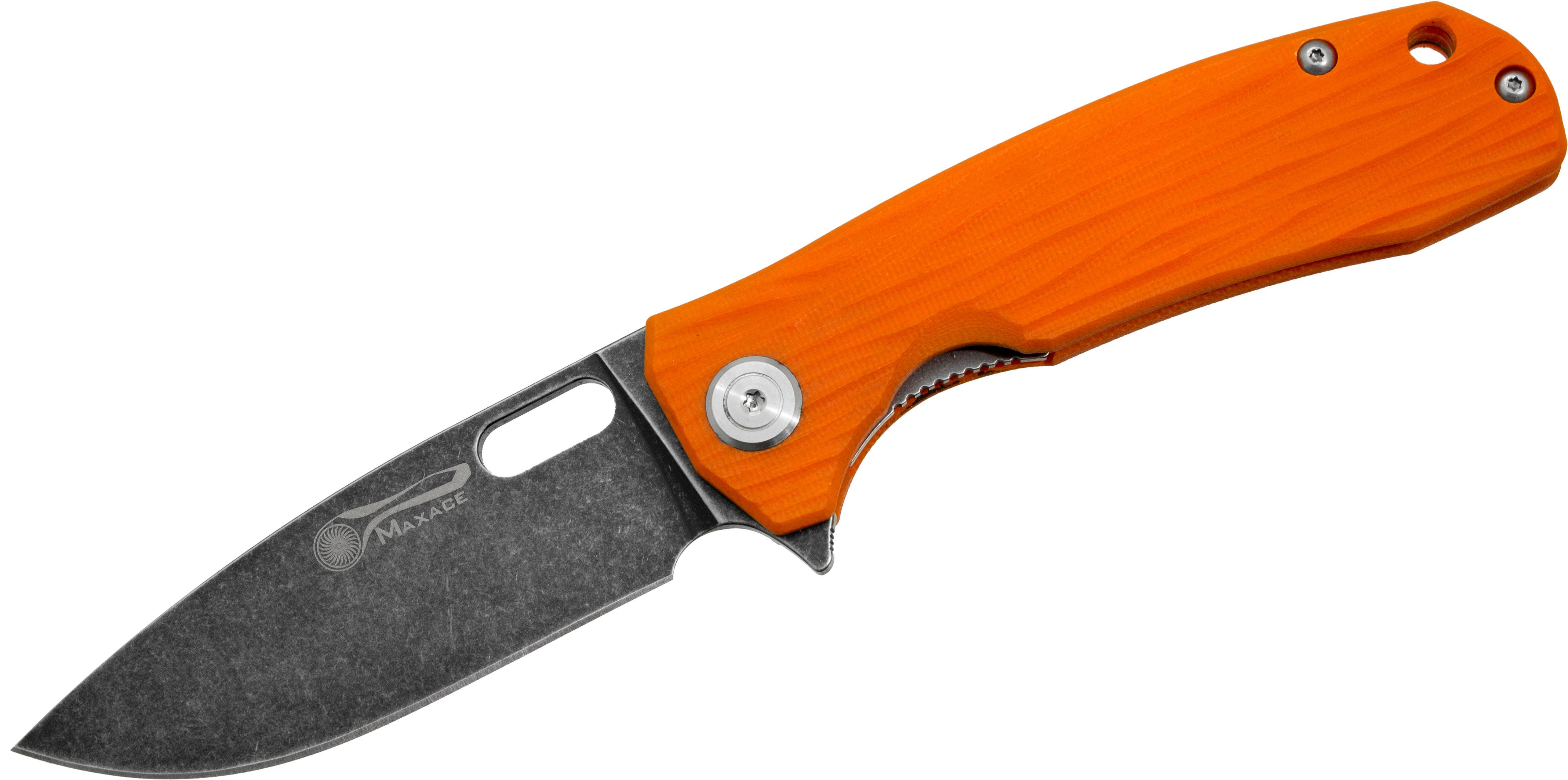 Maxace Knives Balance Flipper 3.54 inch S35VN Black Stonewashed  Plain Blade, Orange G10 Handles