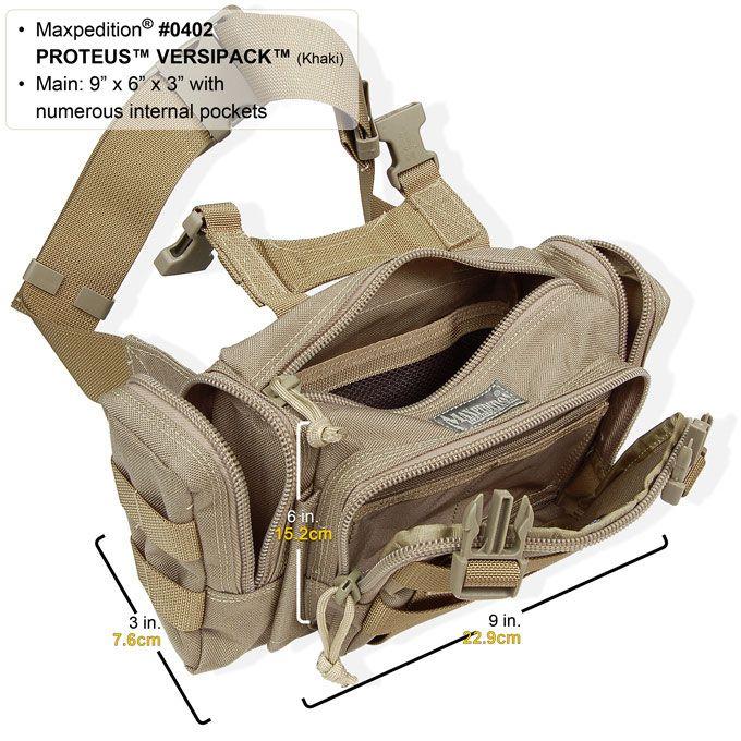 Maxpedition 0402B Black Proteus Versipack Compact Tactical Bag