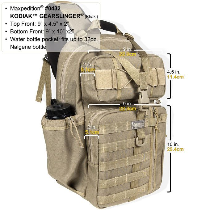 Shoulder Strap Maxpedition Kodiak Gearslinger Backpack w// PALS Khaki 0432K